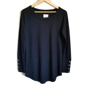 chaser thermal long sleeve button cuff tee size L